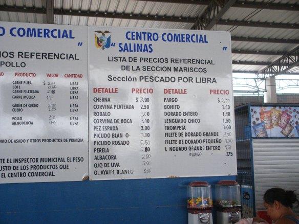 Pricing boards at Mercado de Salinas