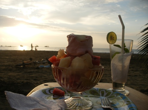 Fruit salad and the beach what could be better